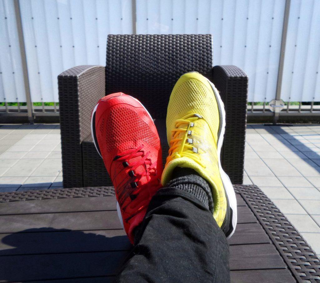 different color shoes