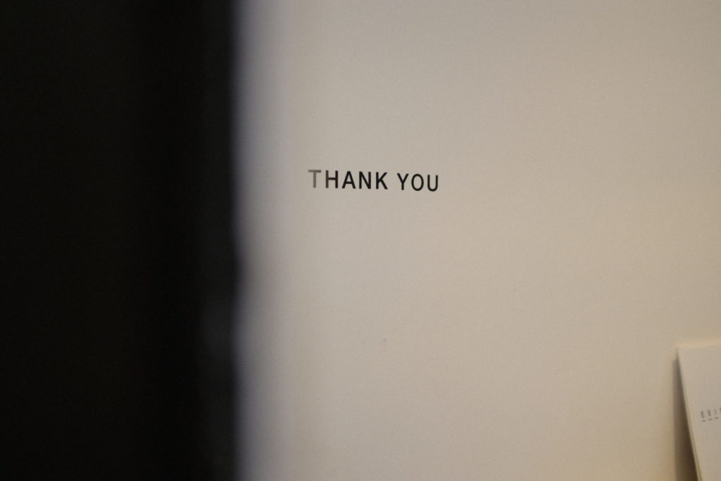 "the word ""thank you"" on the wall"
